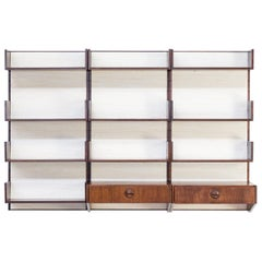 1960s Marten Franckema Rosewood and Seagrass Canvas Wall Unit for Fristho