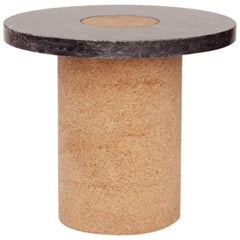 Contemporary Sintra Table Small with Black Marble and Natural Cork