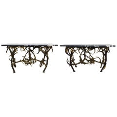 Pair of Two Consoles in Deer Antler and Marble, Italy