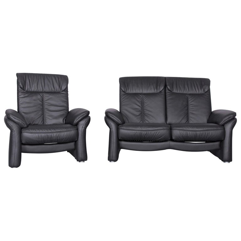 Casada Designer Leather Sofa Armchair Set Black Two Seat Couch Recliner For