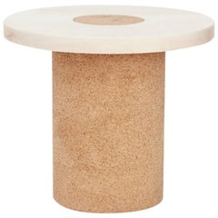 Contemporary Sintra Table Small with White Marble and Natural Cork
