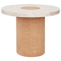 Contemporary Sintra Table Large with White Marble and Natural Cork