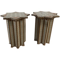 Beautiful Pair of Meticulously Inlaid and Hand-Carved Moroccan End Side Tables