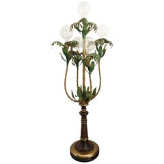 1950s Italian Bamboo Palm Tree Floor Lamp
