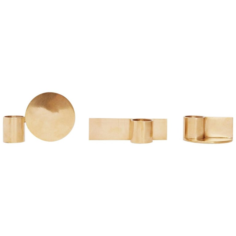 Contemporary Fundament Candleholder Set in Brass For Sale