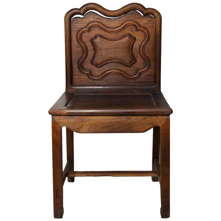 Yumu Chinese 19th Century Side Chair with Dark Lacquered Finish and Cartouche