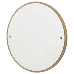 Contemporary Circle Mirror Small with Oak Frame and Brass Fasteners
