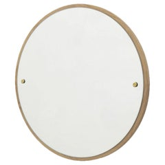 Contemporary Circle Mirror Medium with Oak Frame and Brass Fasteners