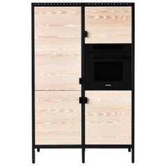 Contemporary Kitchen Unit A in Solid Douglas Fir, Marble and Steel Frame