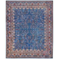 Blue Oversize Floral Antique Indian Rug