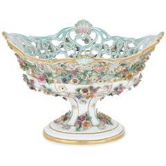 Antique Floral Porcelain Fruit Bowl by Meissen