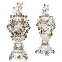 Pair of 19th Century Dresden Porcelain Vases