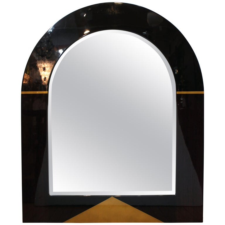 Postmodern Arched Mirror with Gilt Accents