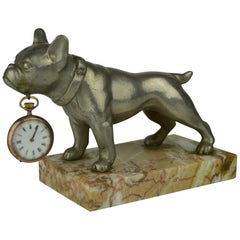 Bulldog Dog Pocket Watch Holder, Pocket Watch Stand on Marble Base Art Deco