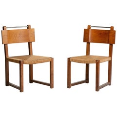 Modernist Oak and Rush Side Chairs, Czechoslovakia, circa 1930