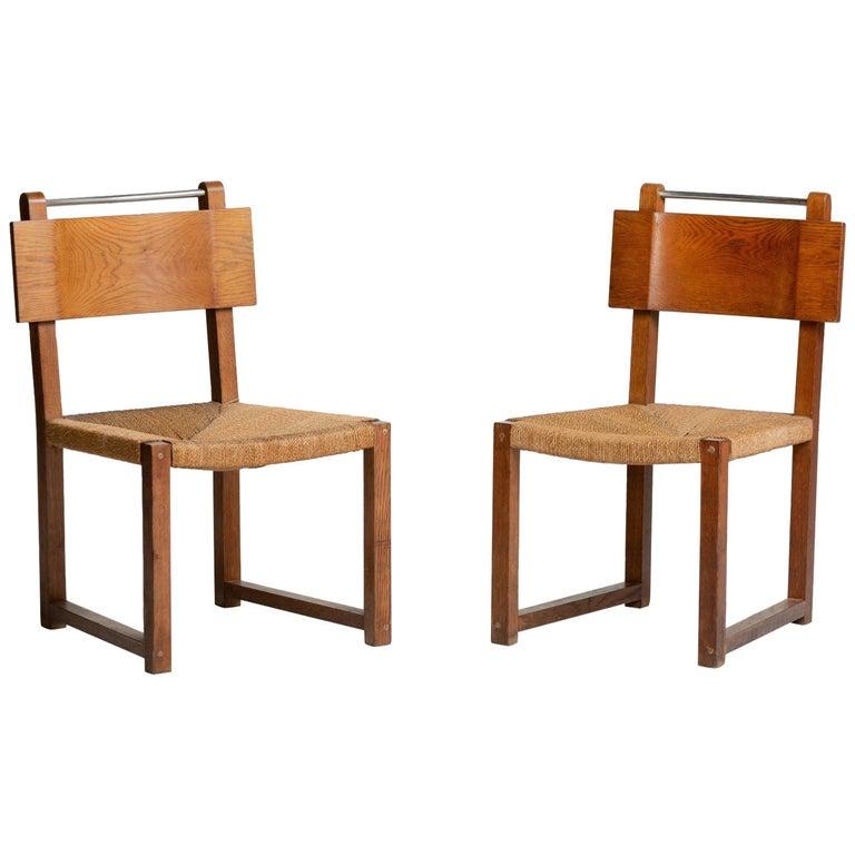 Modernist Oak and Rush Side Chairs, Czechoslovakia, circa 1930