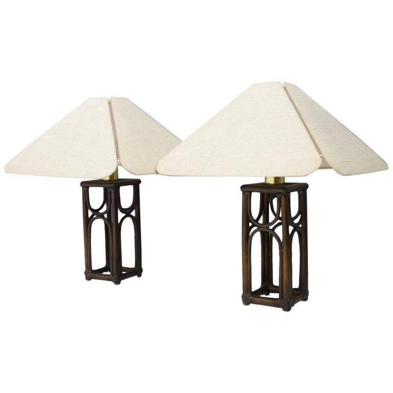Pair of Bamboo Table Lamps, 1970s