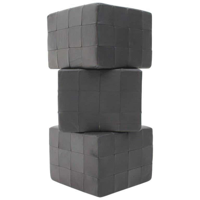 De Sede Footstools Cubes Leather Stool Ottoman Switzerland, 1970s