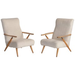 Pair of Shearling Lounge Chairs, France, circa 1950