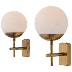 Pair of Brass and Opaline Globe Sconces, Italy, circa 1960