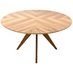 Round Walnut Dining Table in 1950s Style, Italy, 1990s