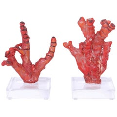Pair of Red Coral Sculptures, Priced Individually