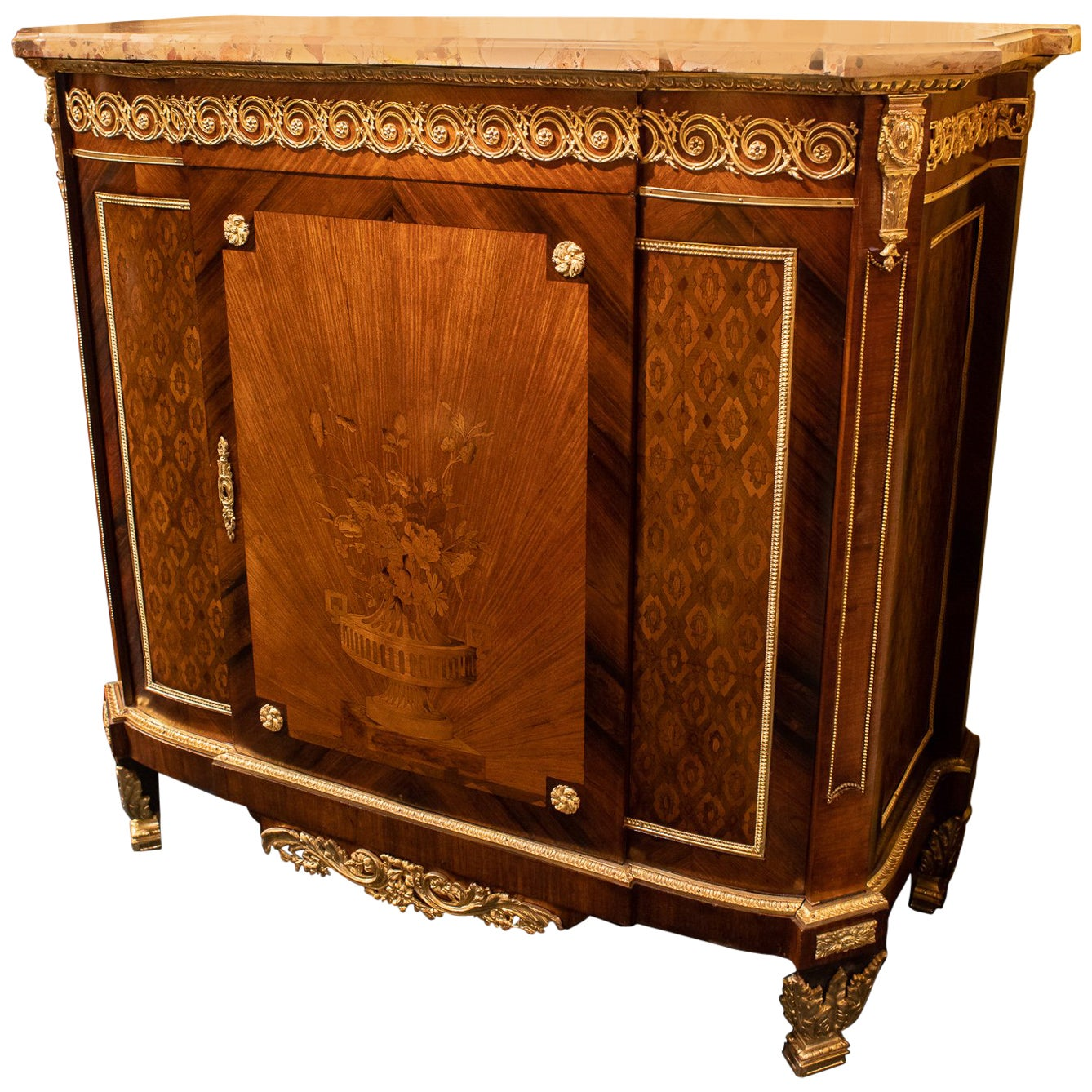 French Louis XVI Style Marquetry Inlaid Bronze-Mounted Marble-Top Commode