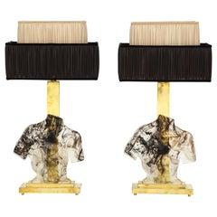 Impressive Pair of Italian Murano Glass Sculpture Bust Lamps
