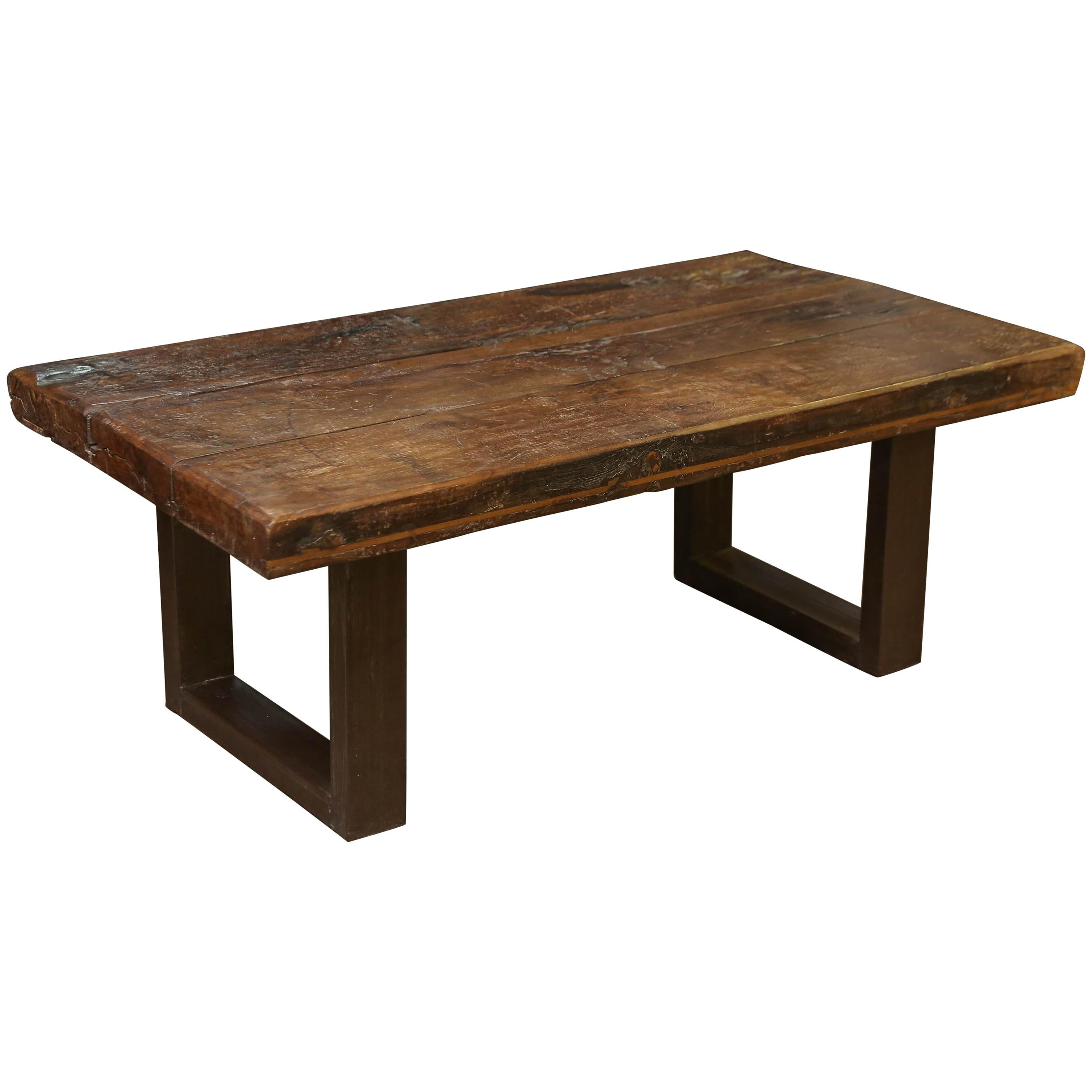 1810s Solid Thick Teak Wood Coffee Table From A Game Santuary In Assam For  Sale