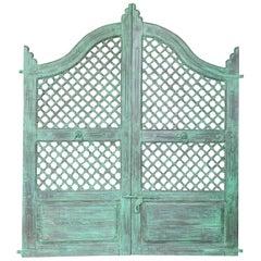 Midcentury Teak Wood Lattice Style Painted Tea Garden Gate