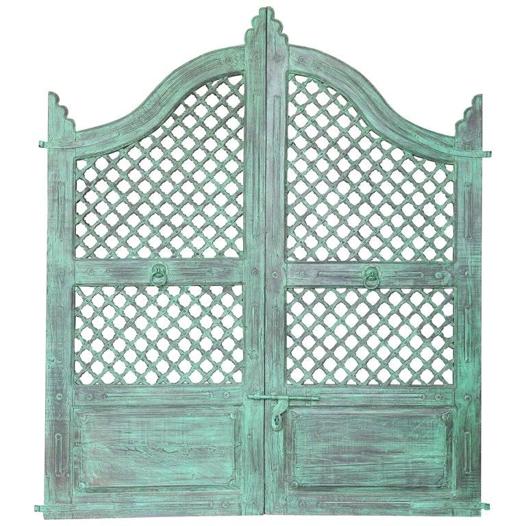 Midcentury Teak Wood Lattice Style Painted Tea Garden Gate ...