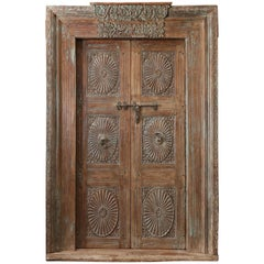 1850s Solid Teak Wood Highly Carved Entry Door from a Settler's Home in Goa