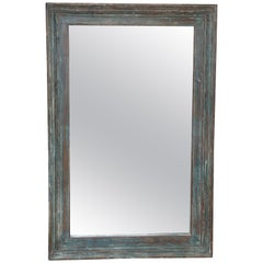 Timeless Hall Mirror Made from Solid Teak Wood Window Frame of a Missionary Home