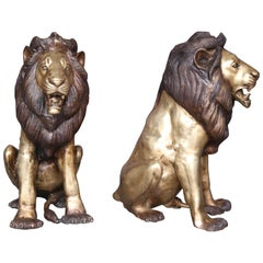 Pair of Midcentury Hand Cast Outdoor Bronze Decorative Sitting Lions