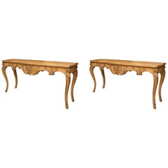 Pair of Italian Beechwood Console Tables