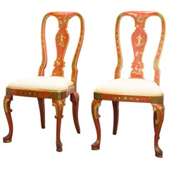 Pair of 'Japanned' or Chinoiserie Chinese Red Side Chairs