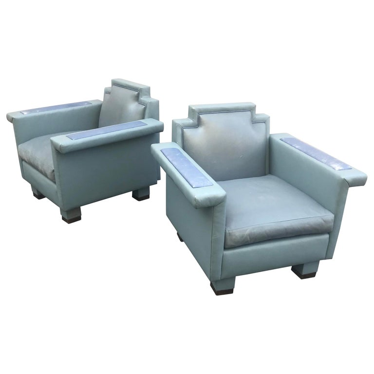 Exceptional Pair of 1980s Ronn Jaffe Postmodern Leather Lounge Chairs For Sale
