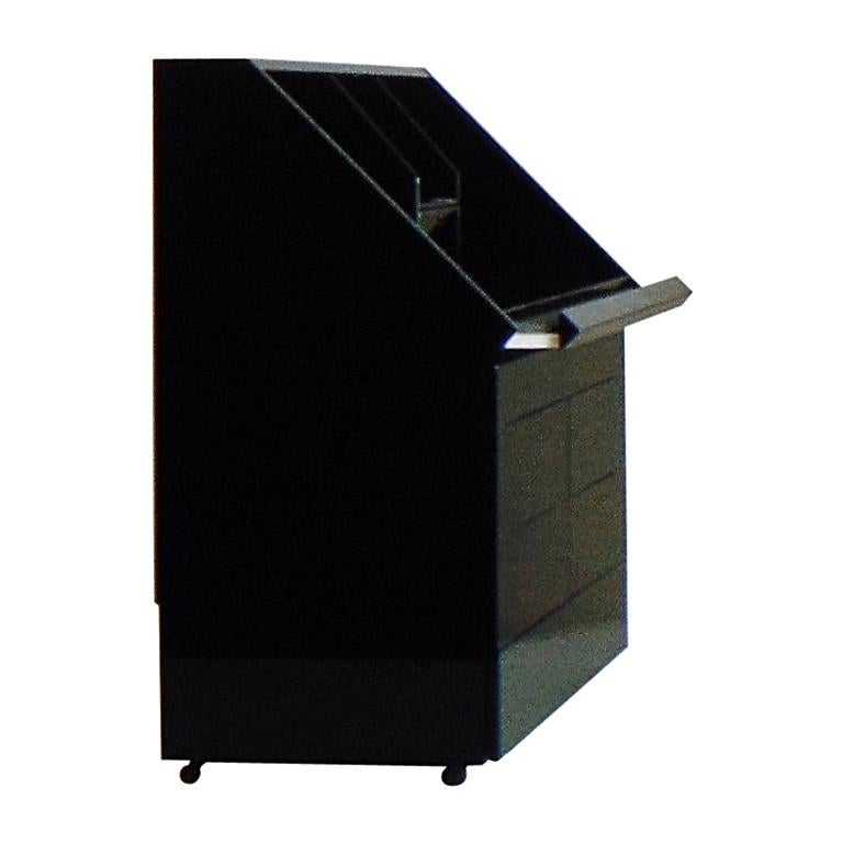 Secretaire Commode Writing Desk Glossy Black Lacquer by Sormani, Italy, 1983
