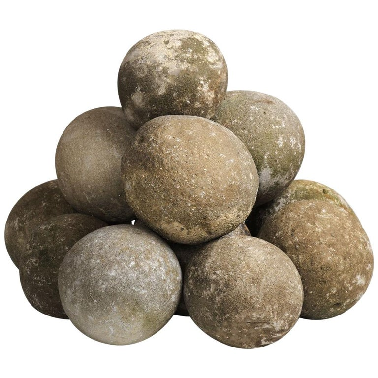 Set of 14 Stone Balls, France, circa 1840 For Sale