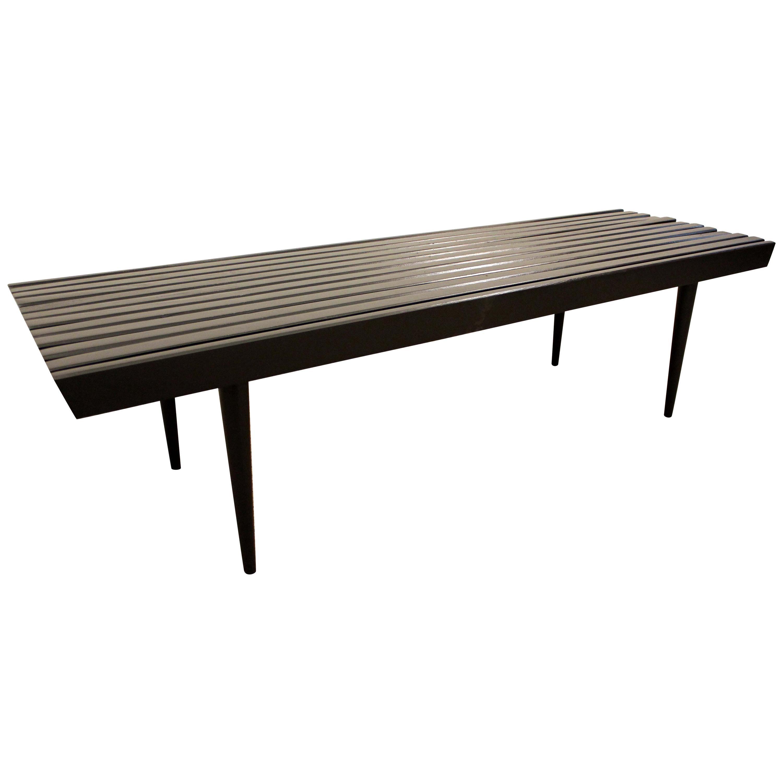 Midcentury Danish Modern Ebonized Walnut Slat Bench Coffee Table