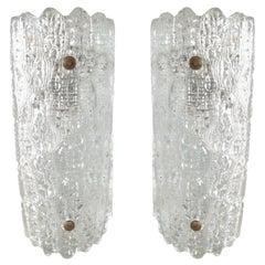 Pair of Cylindrical Orrefors Glass Pendant Lights Scandinavian, Midcentury