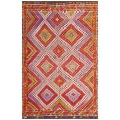Multi-Colored Vintage Turkish Kilim Rug