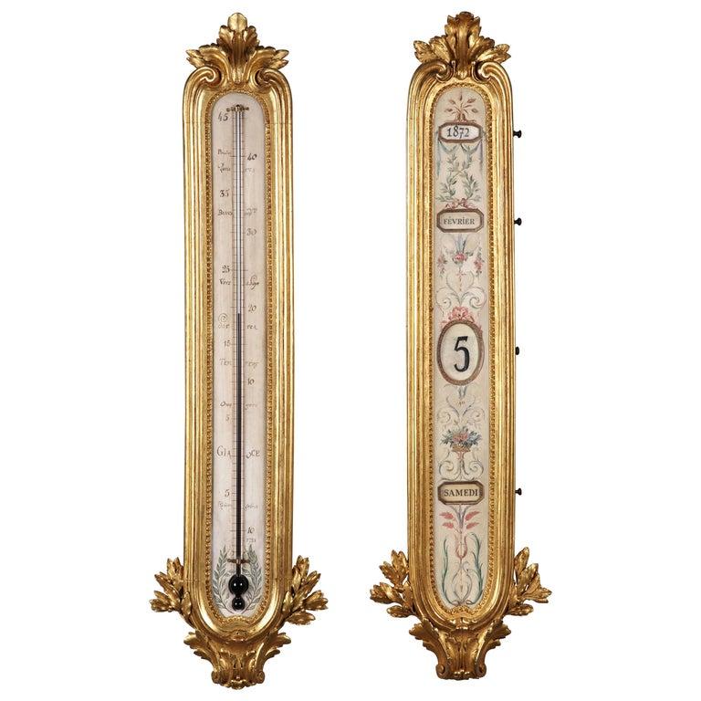 Elegant Set of Gilded Wood & Metal Thermometer & Perpetual Calendar After Linke