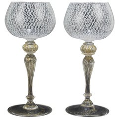 Set of 12 Venetian or Murano Glass Reticulo Filigrana Decorated Wine Goblets