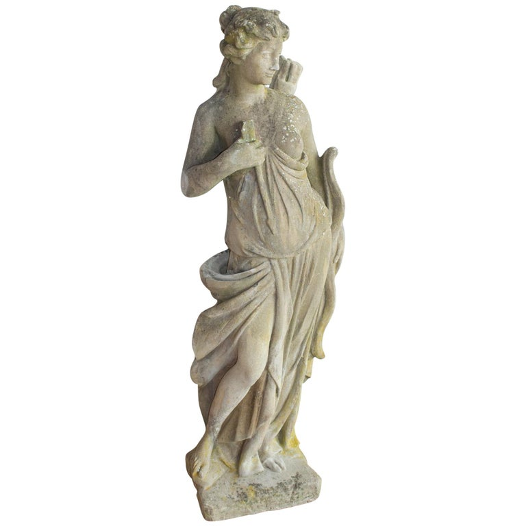 Antique English Stone Statue of Diana The Huntress