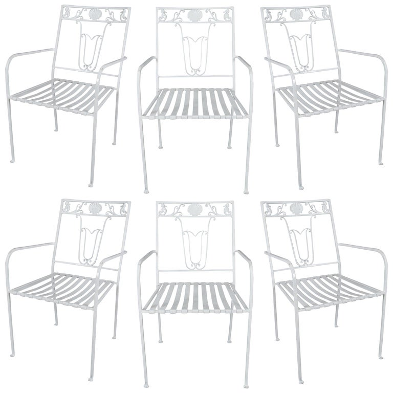 Set of Six Wrought Iron Seashell and Seahorse Chairs