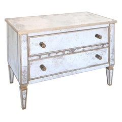 Mirror Clad Two-Drawer Commode