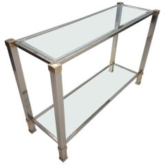 Silver Plated and Gilt Aluminum Console Table by Pierre Vandel, 1970s
