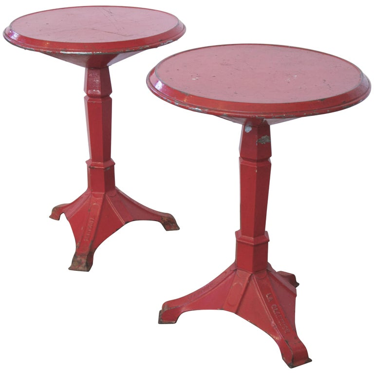 Pair of French Art Deco Period Painted Metal Bistro Tables For Sale