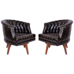 Monteverdi-Young African Walnut and Leather Swivel Lounge Chairs